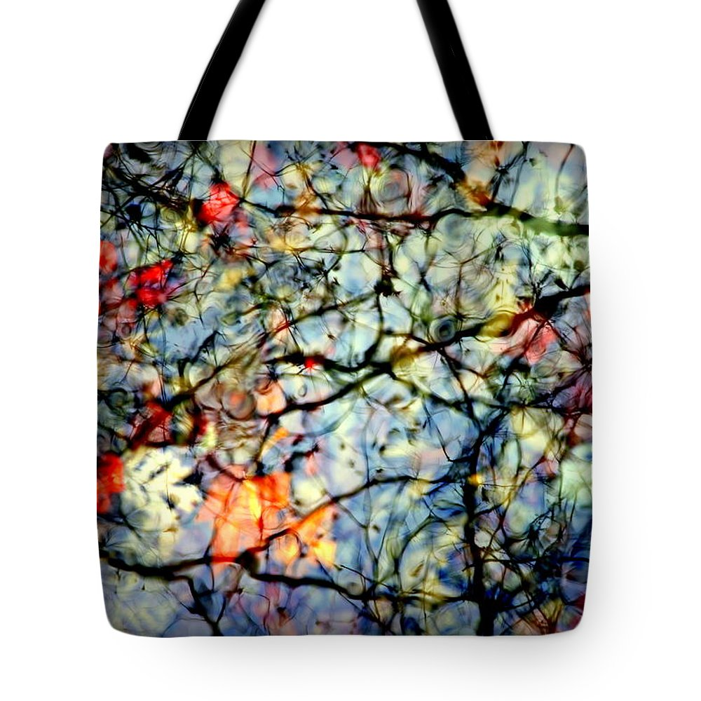 Nature Abstracts Tote Bag featuring the photograph Natures Stained Glass by Karen Wiles
