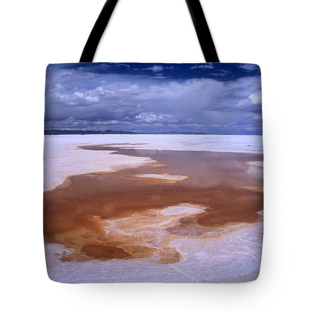 Bolivia Tote Bag featuring the photograph Natures Watercolours On The Salar De Uyuni by James Brunker