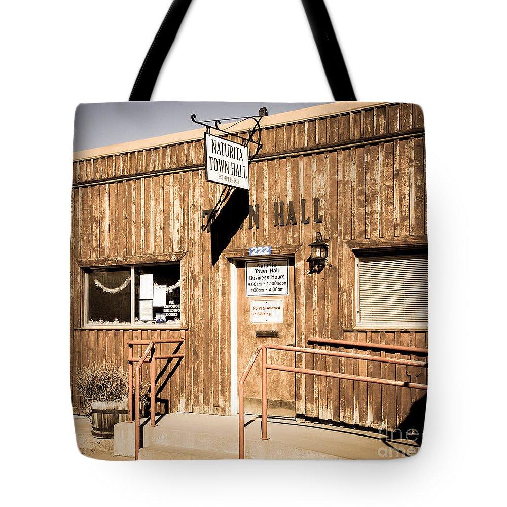 Bob And Nancy Kendrick Tote Bag featuring the photograph Naturita Town Hall - Vintage by Bob and Nancy Kendrick