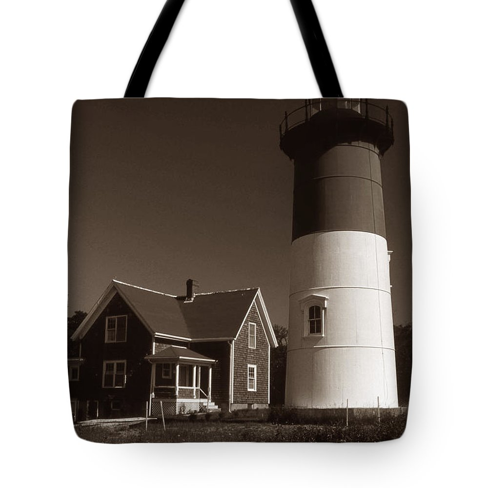 Lighthouses Tote Bag featuring the photograph Nauset Lighthouse by Skip Willits