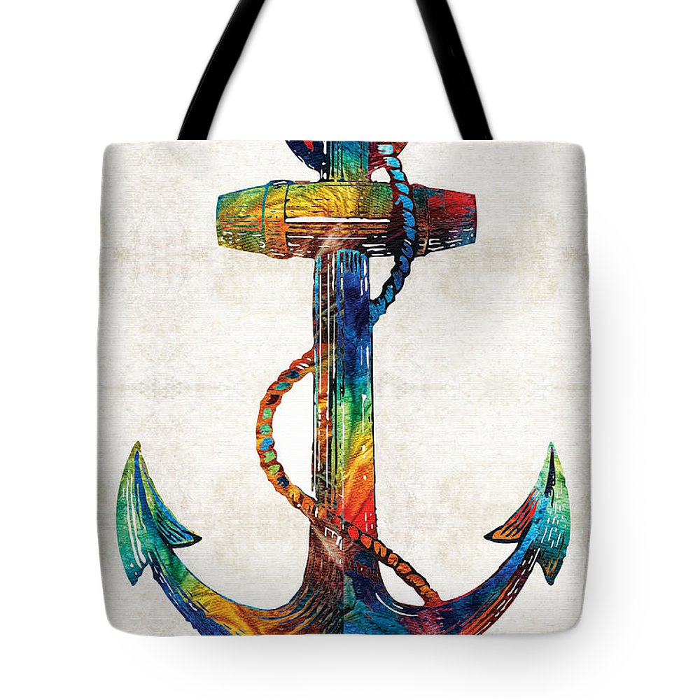 Anchor Tote Bag featuring the painting Nautical Anchor Art - Anchors Aweigh - By Sharon Cummings by Sharon Cummings