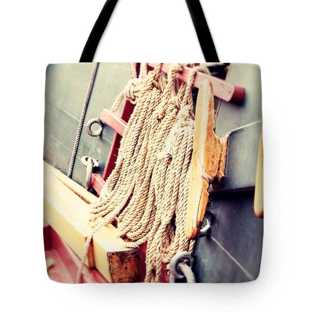 Rope Tote Bag featuring the photograph Nautical Rope by Erin Johnson