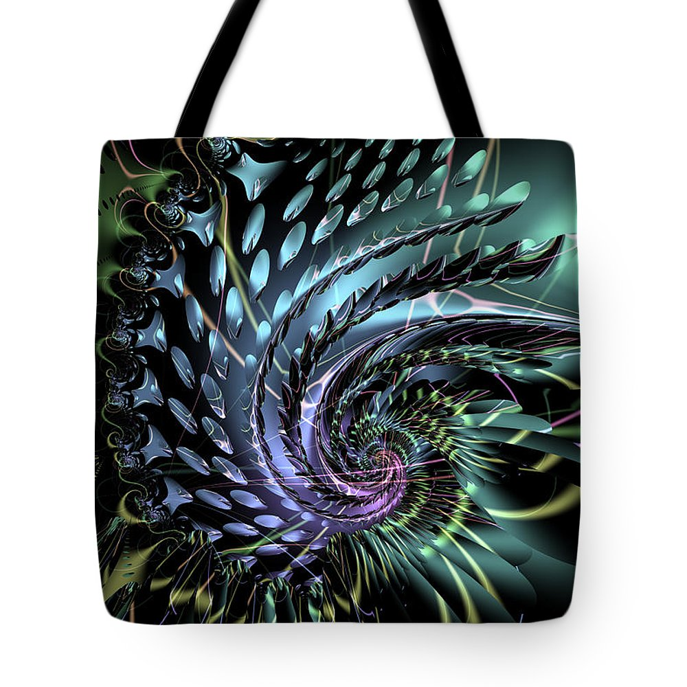 Abstract: Geometric; Abstract: Irregular Forms; Abstract: Organic; Animals: Ocean Life Tote Bag featuring the digital art Nautilustre by Ann Stretton
