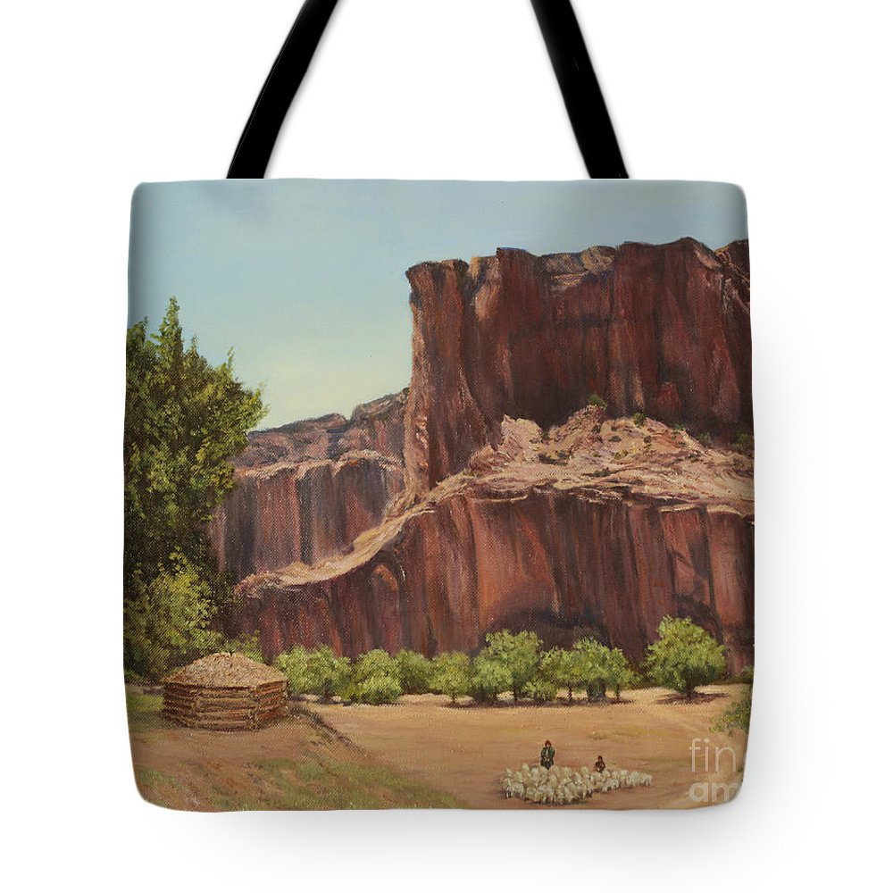Oil Painting Tote Bag featuring the painting Navajo Land by Irene Leach