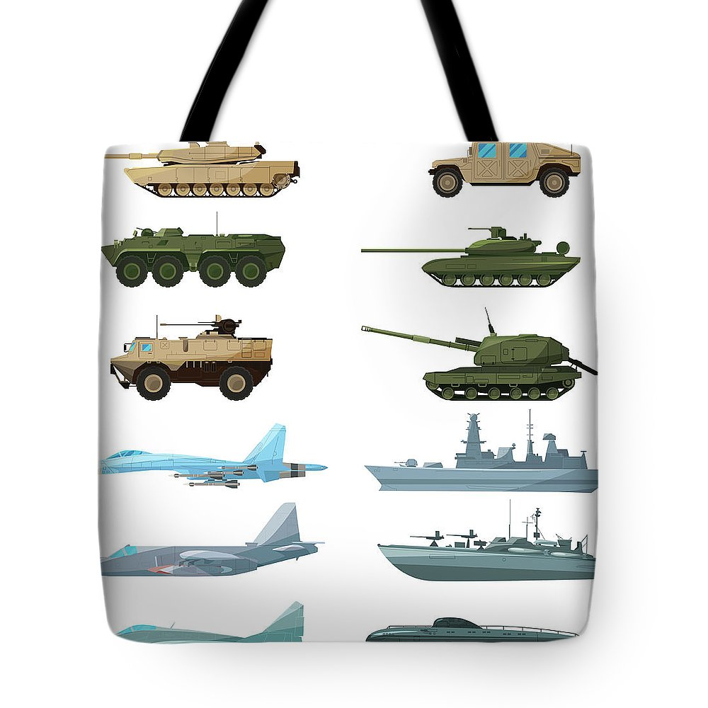 Insect Tote Bag featuring the digital art Naval Vehicles, Airplanes And Different by Onyxprj