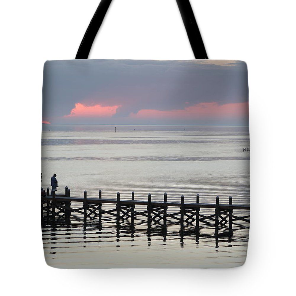 Navarre Beach Pier Tote Bag featuring the photograph Navarre Beach Sunset Pier 19 by Michelle Powell