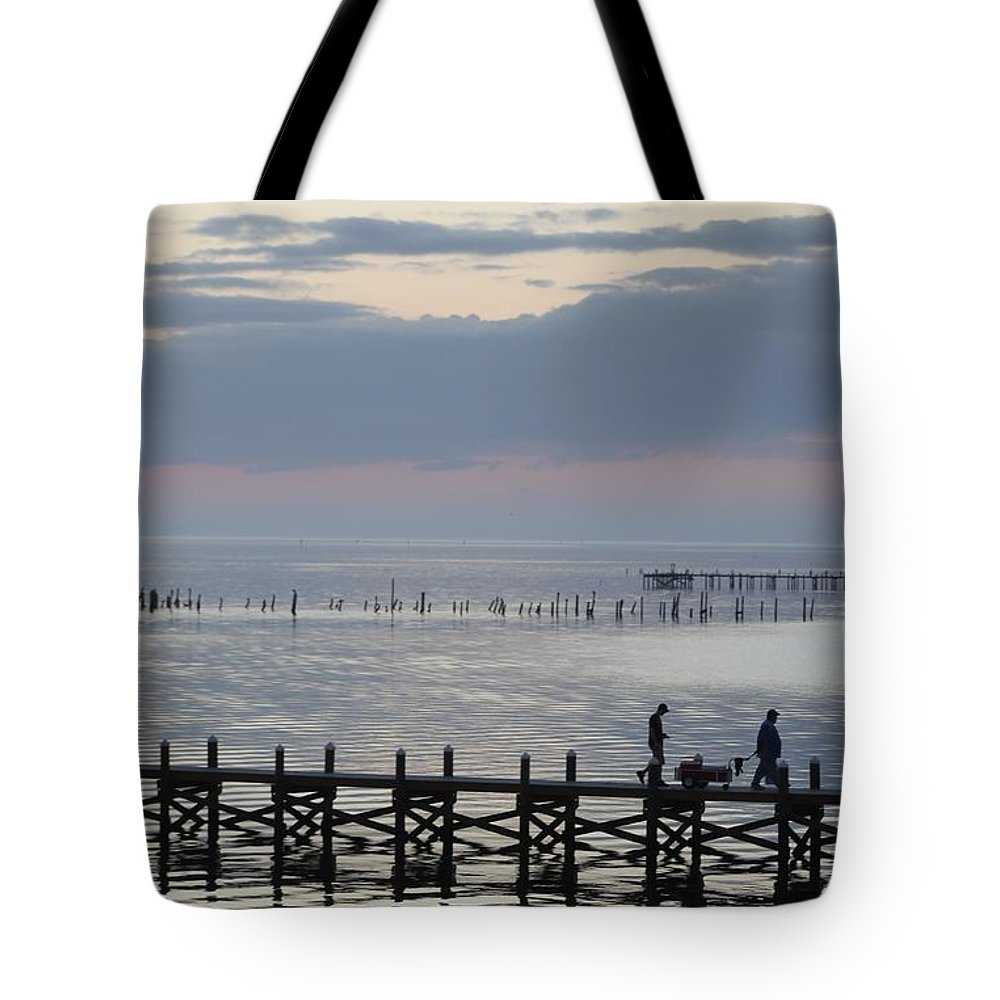 Navarre Beach Pier Tote Bag featuring the photograph Navarre Beach Sunset Pier 8 by Michelle Powell