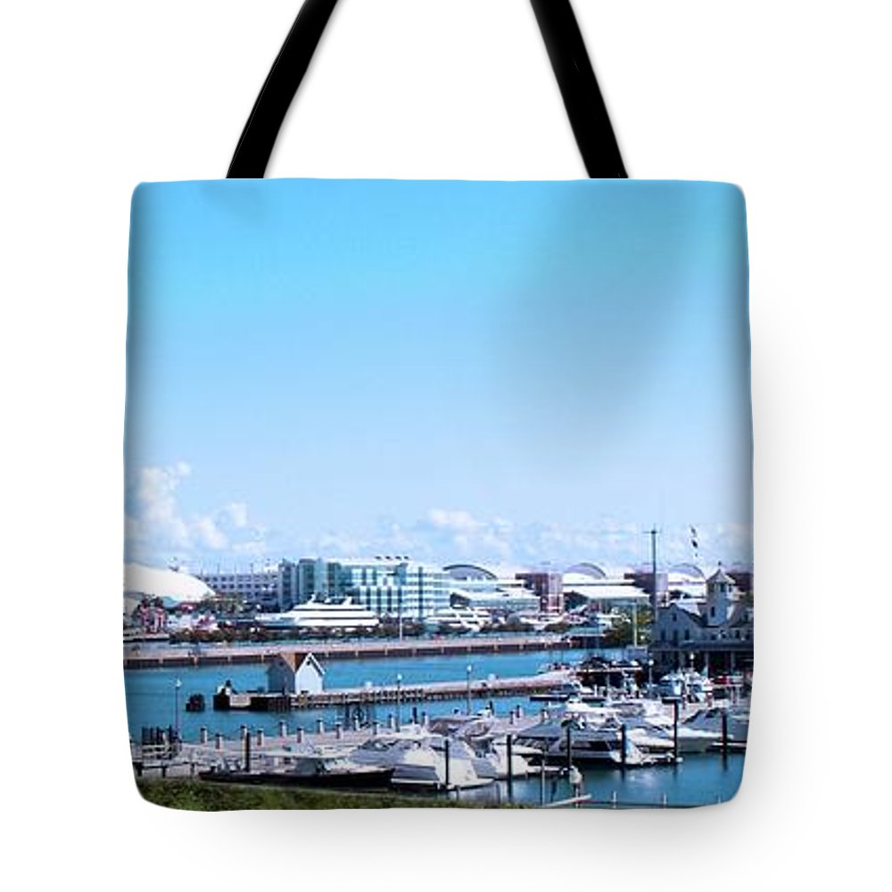 Cities Tote Bag featuring the photograph Navy Pier Chicago Il Looking Northeast by Thomas Woolworth