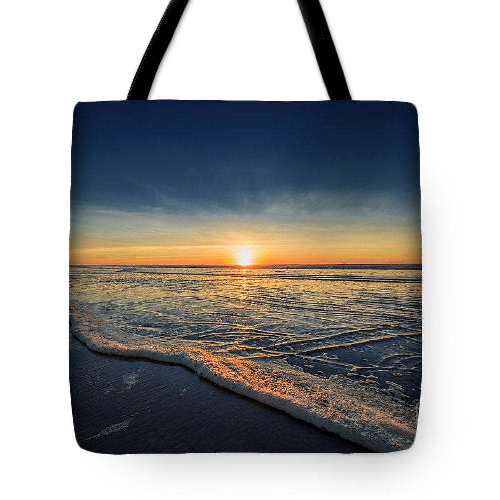 Sunset Photography Print Tote Bag featuring the photograph Navy Sunset by Lucid Mood