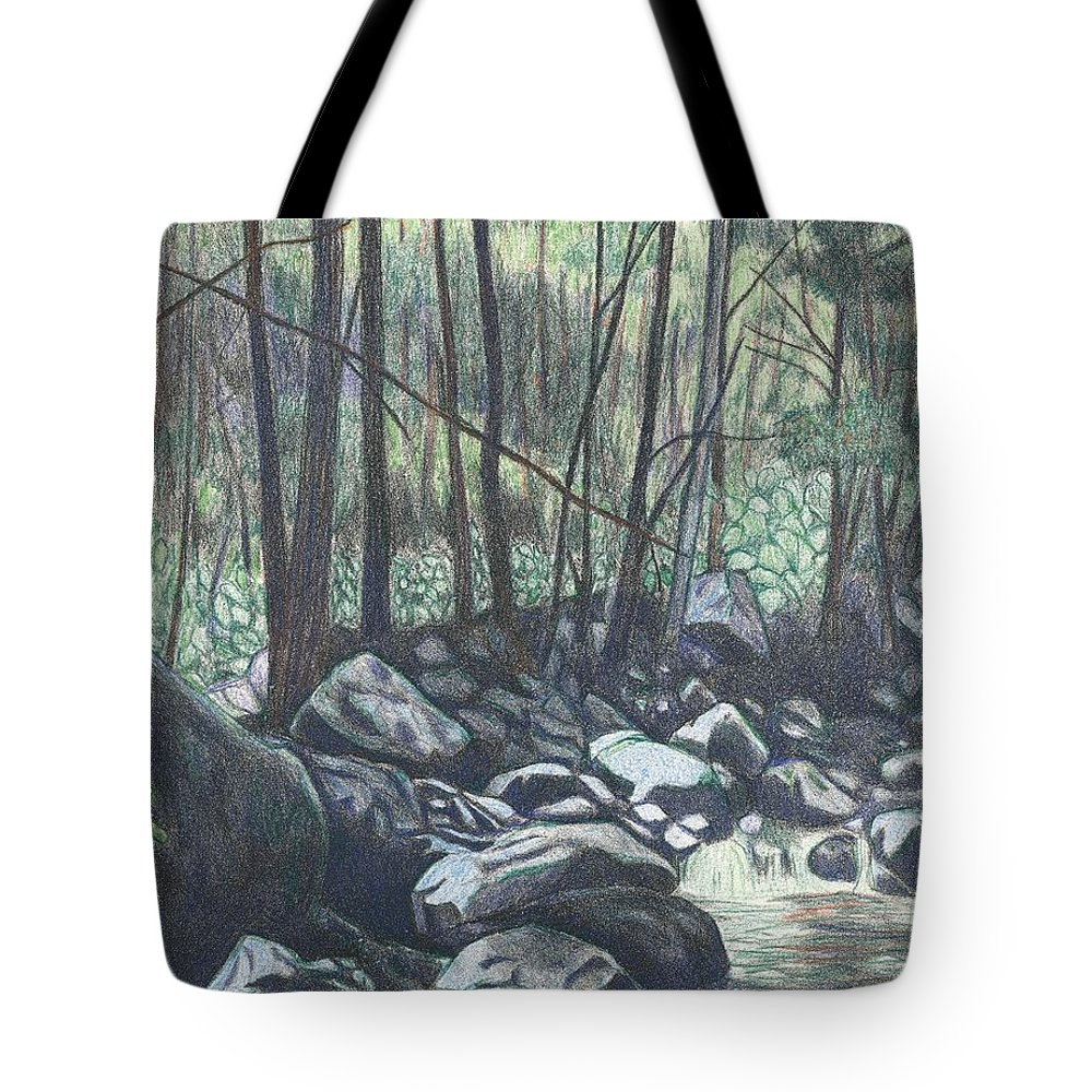 Cascades Drawing Tote Bag featuring the drawing Near The Cascades Again by Kendall Kessler