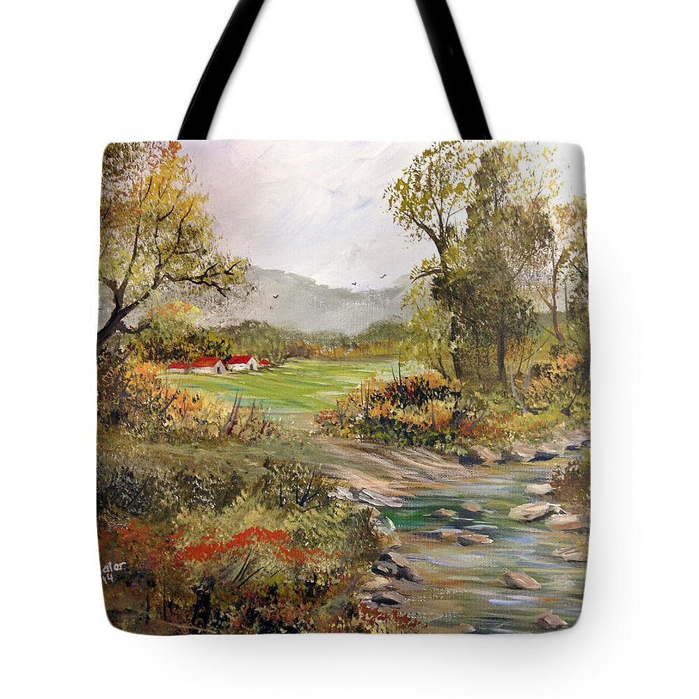 River Painting Tote Bag featuring the painting Near The River by Dorothy Maier