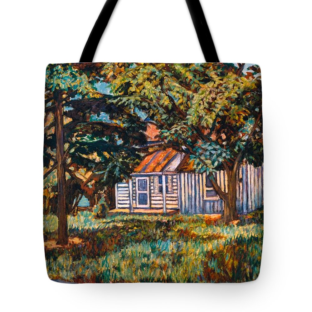 Architecture Tote Bag featuring the painting Near The Tech Duck Pond by Kendall Kessler