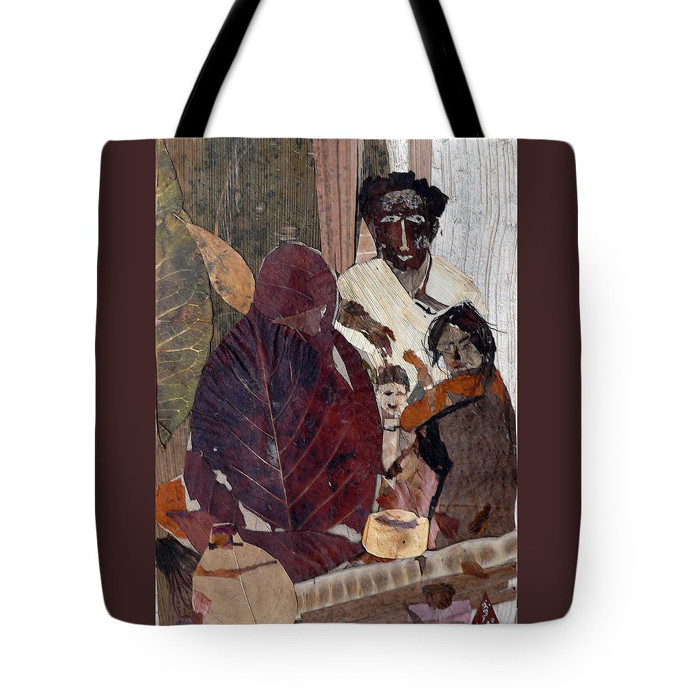 Group Portrait Tote Bag featuring the mixed media Needy Family by Basant Soni