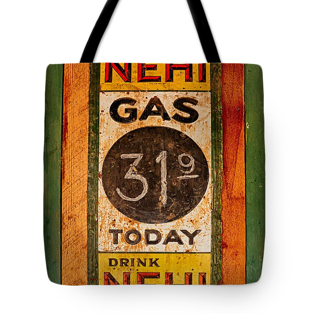 Nehi Tote Bag featuring the photograph Nehi And Gas Sold Here by Priscilla Burgers