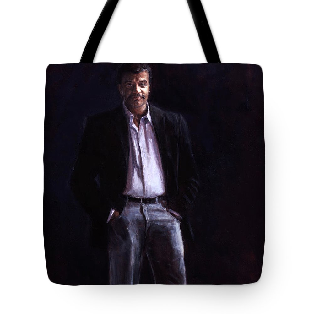 Cosmos Tote Bag featuring the painting Neil Degrasse Tyson by Sarah Yuster