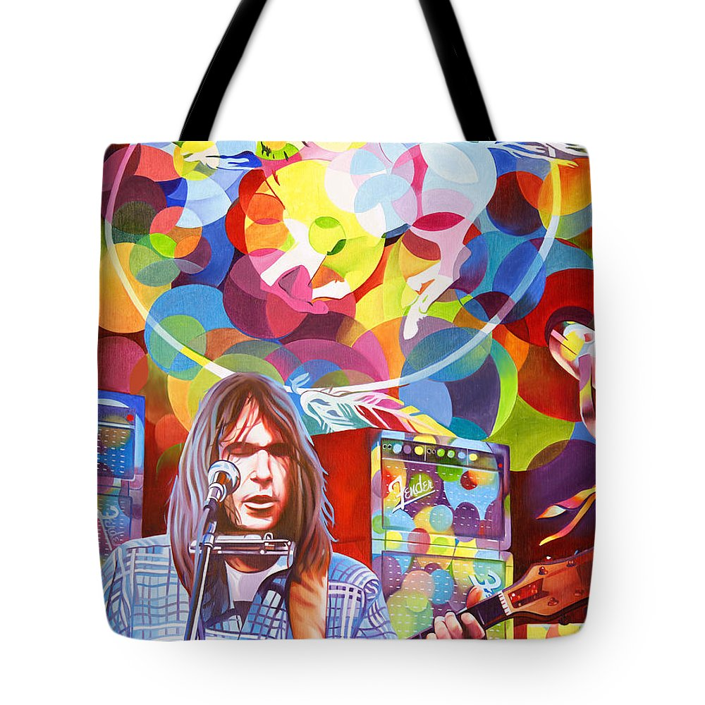 Neil Young Tote Bag featuring the painting Neil Young-crazy Horse by Joshua Morton