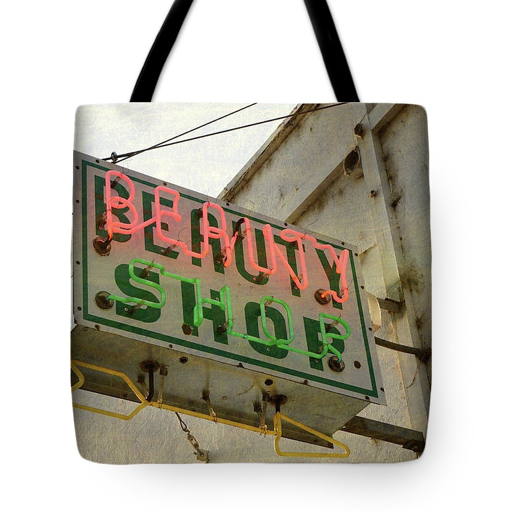 Pole Tote Bag featuring the photograph Neon Beauty Shop Sign by Smodj