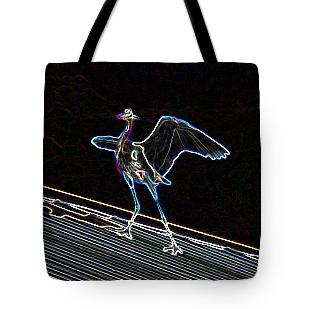 Computer Graphics Tote Bag featuring the photograph Neon Blue Heron by Marian Bell