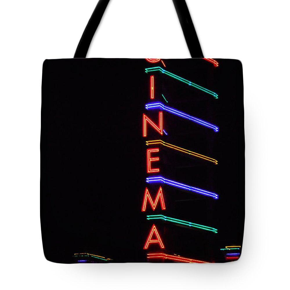 Neon Tote Bag featuring the photograph Neon Cinema by Marcia Socolik