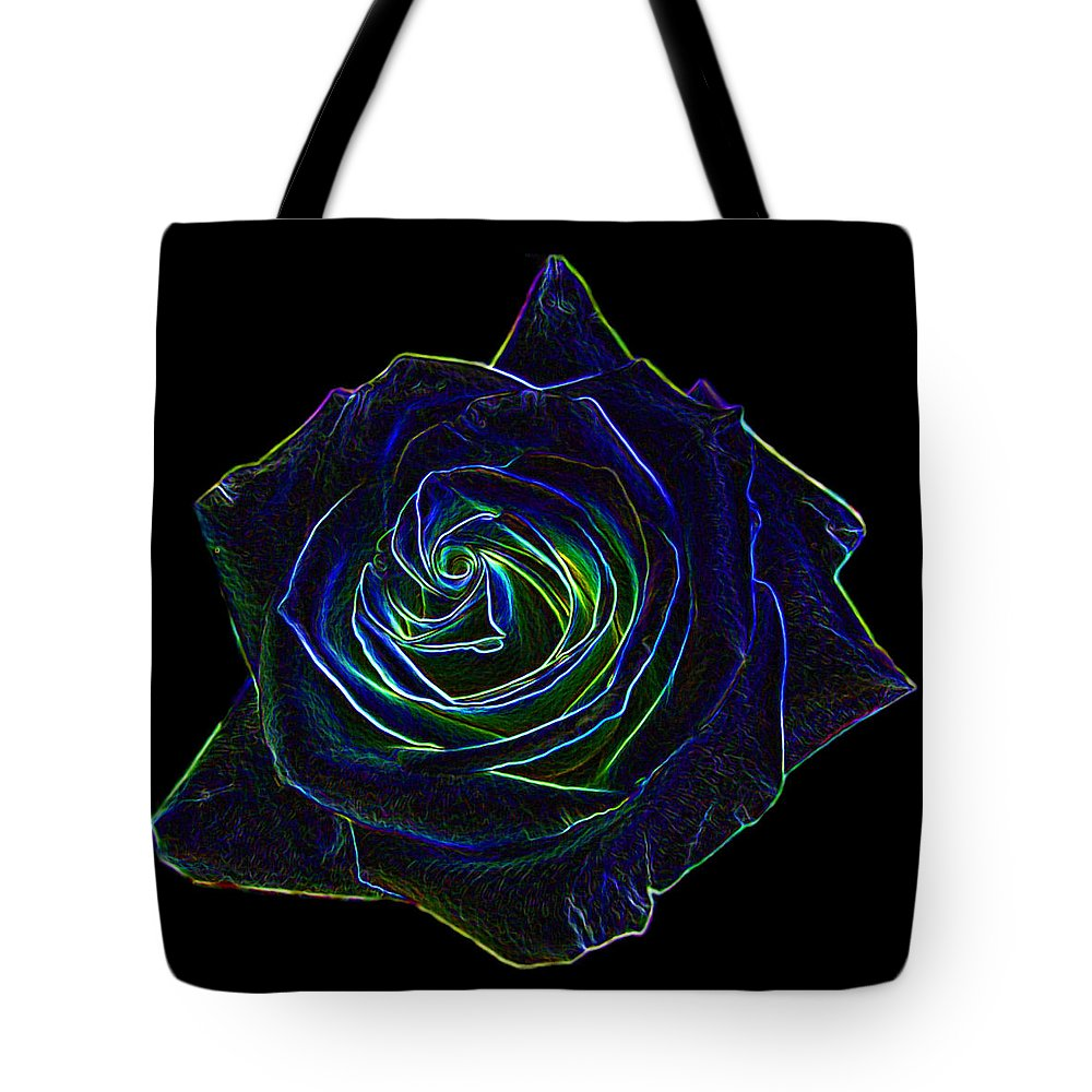 Abstracts Tote Bag featuring the digital art Neon Rose 5 by Ernie Echols