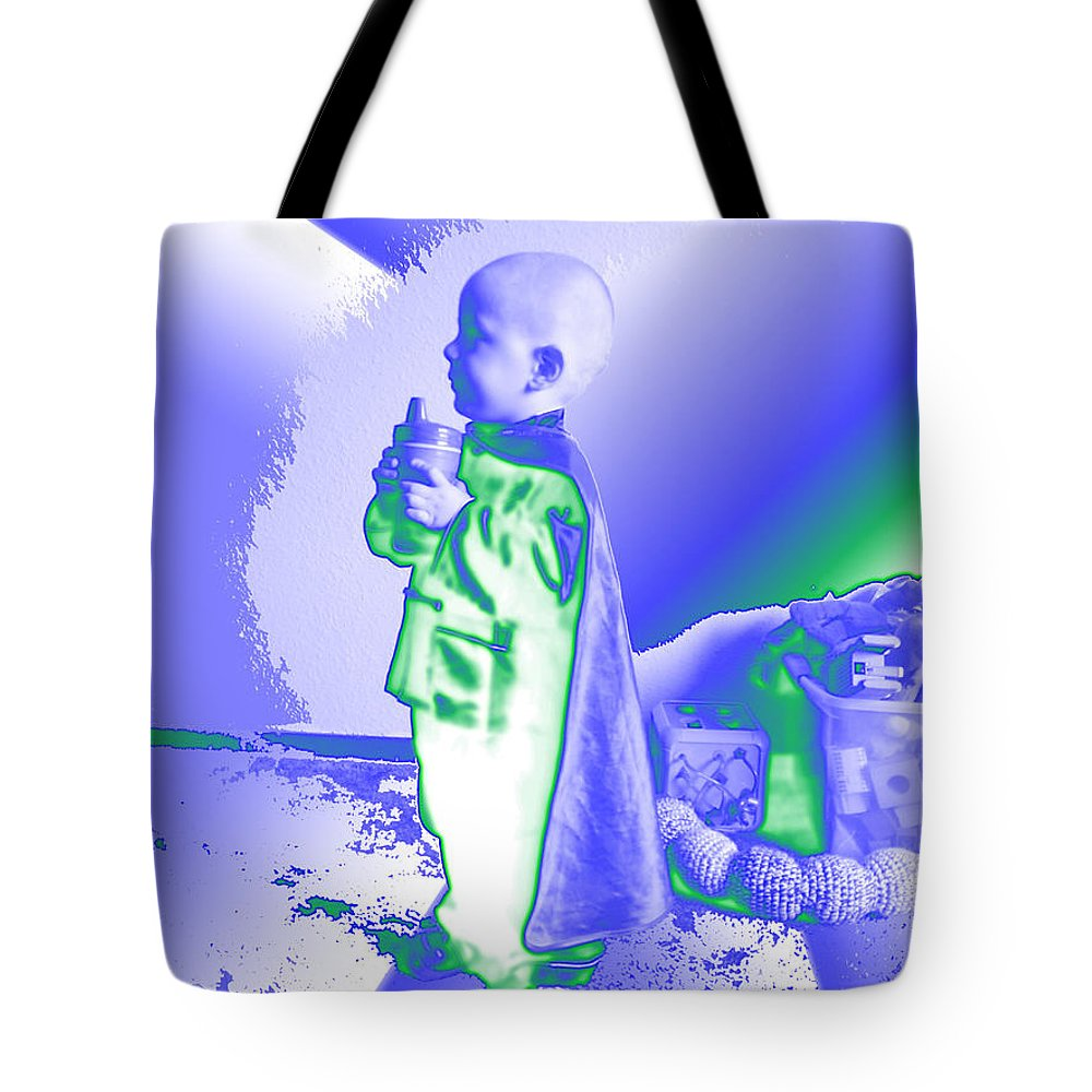 Portrait Of A Boy Tote Bag featuring the digital art Neon Water Dragon Ninja Boy by Feile Case