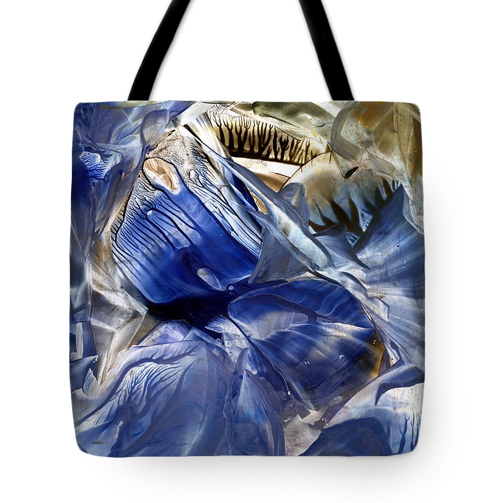 Encaustics Tote Bag featuring the painting Neptunian Sapphire by Cristina Handrabur