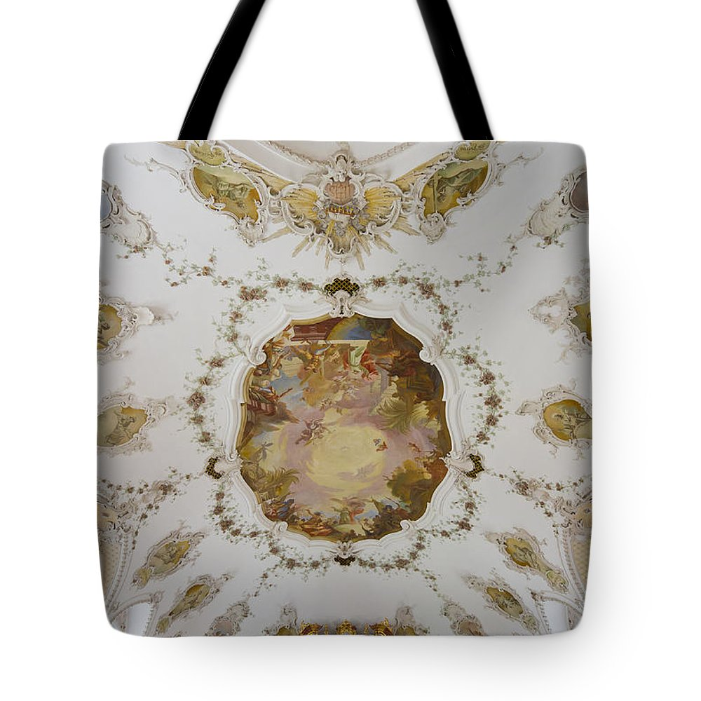 Bavaria Tote Bag featuring the photograph Nesselwang Church Ceiling And Organ by Jenny Setchell