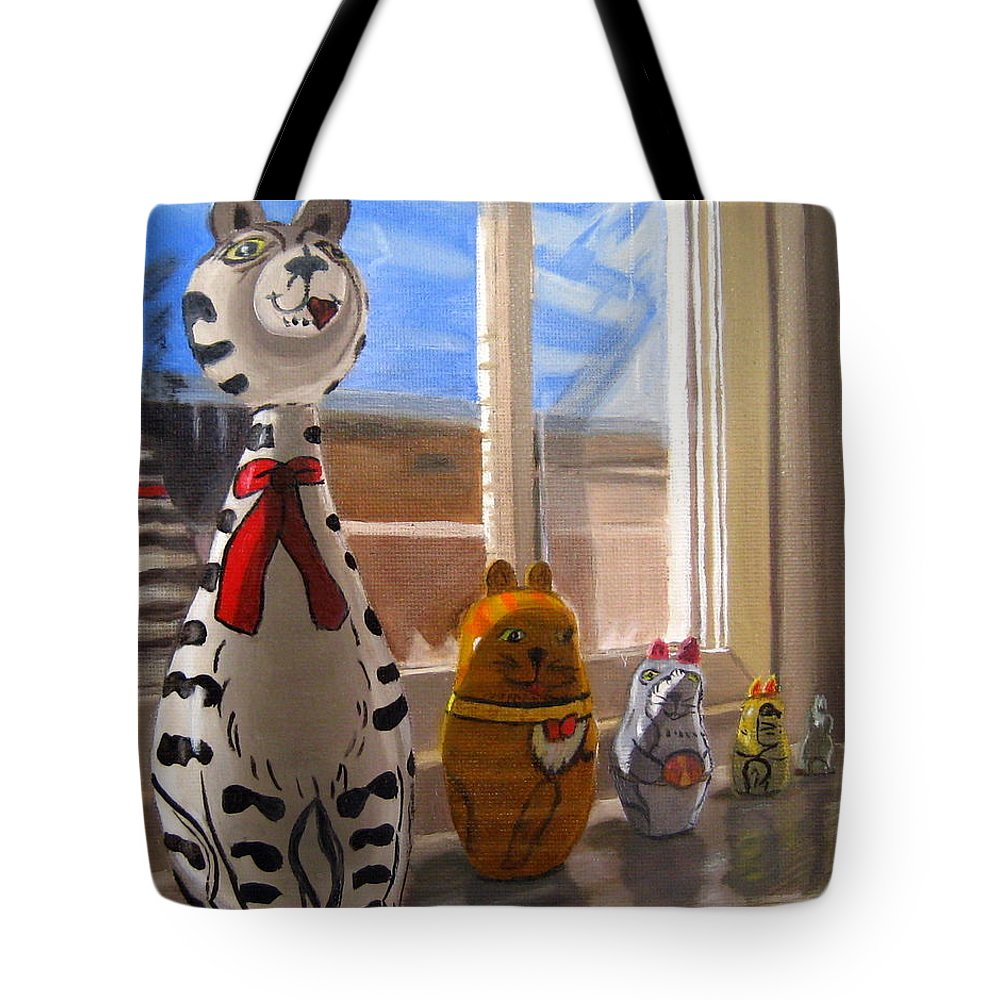 Cats Tote Bag featuring the painting Nested Cats by LaVonne Hand