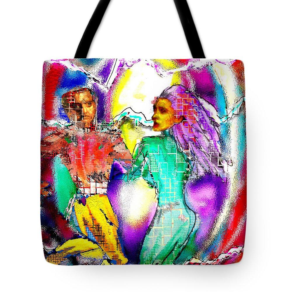 Neutron Tote Bag featuring the digital art Neutron Dance by Seth Weaver