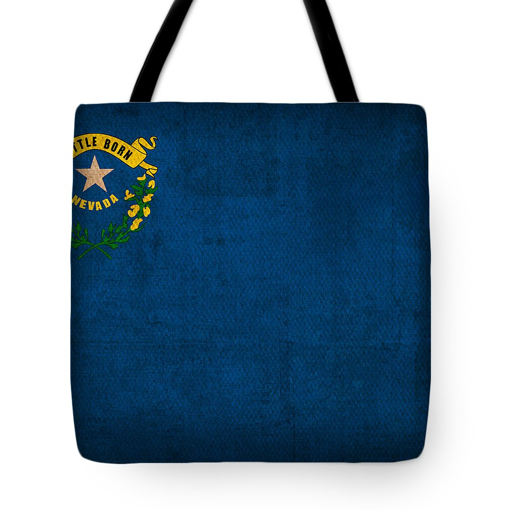 Nevada State Flag Art On Worn Canvas Tote Bag featuring the mixed media Nevada State Flag Art On Worn Canvas by Design Turnpike
