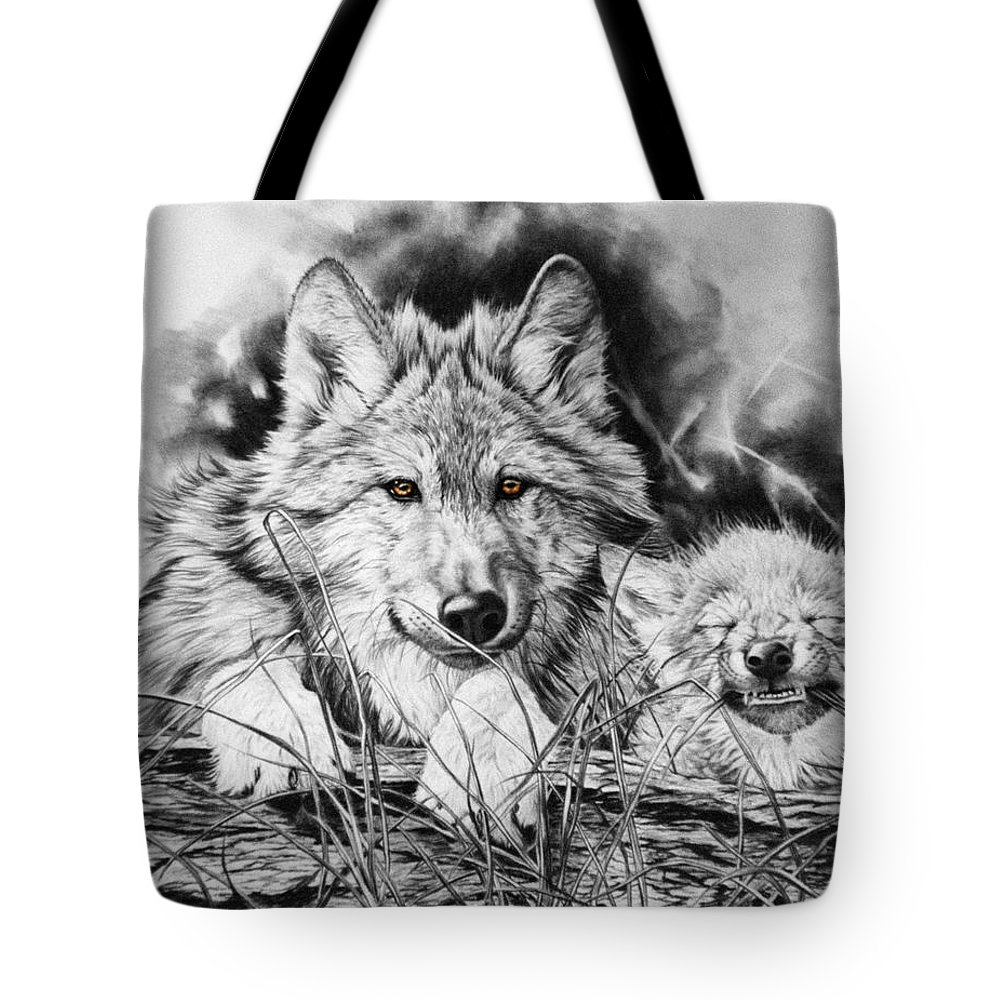 Wolf Tote Bag featuring the painting New Adventures by Donna Hillman Walsh