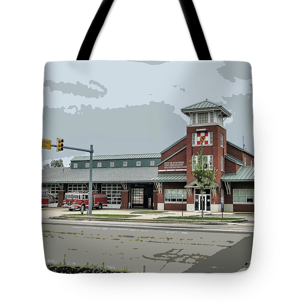 Victor Montgomery Tote Bag featuring the photograph New Bern Fire Department by Victor Montgomery