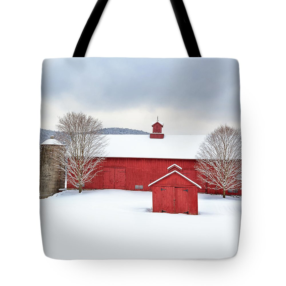 Square Tote Bag featuring the photograph New England Barns Square by Bill Wakeley