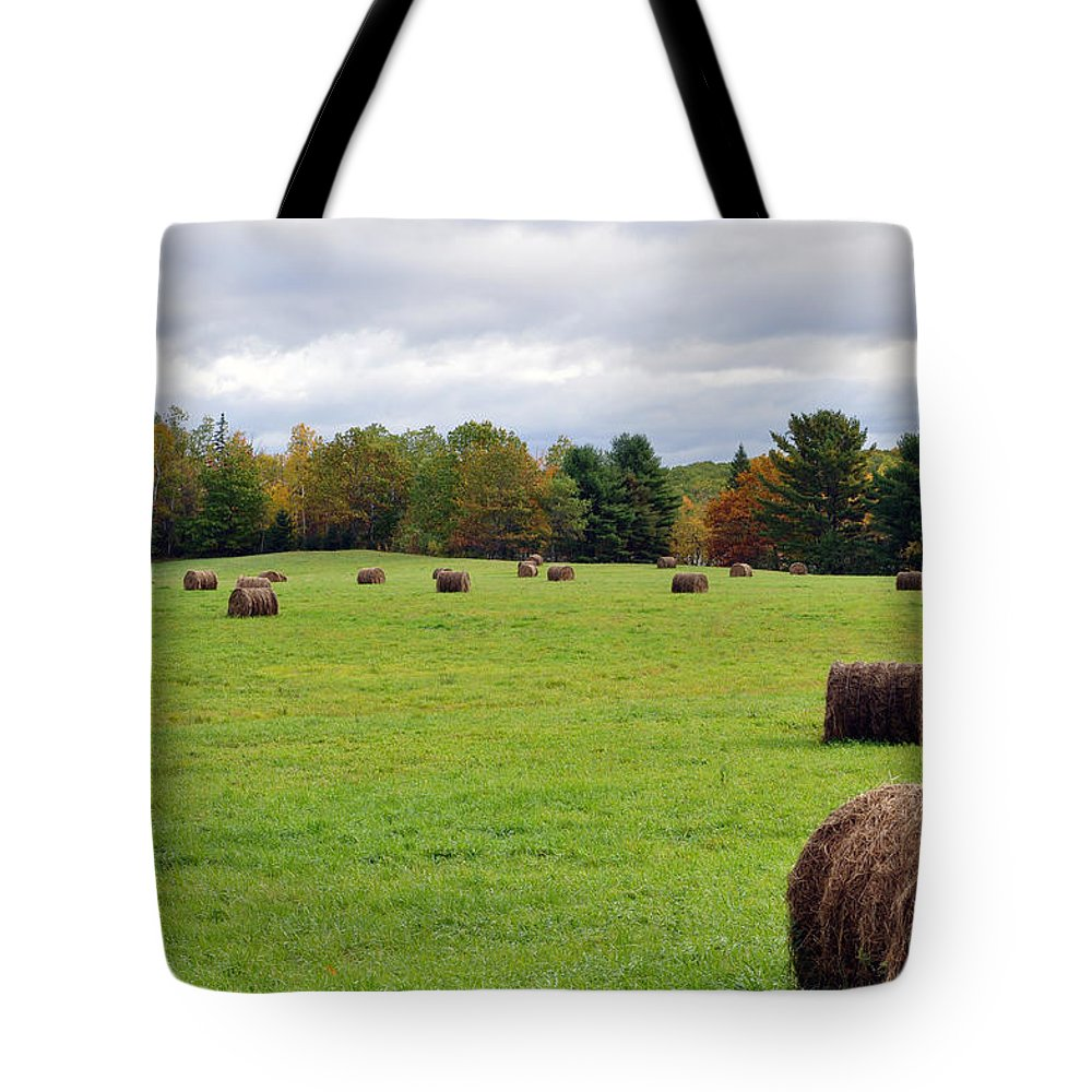 Fall Tote Bag featuring the photograph New England Hay Bales by Glenn Gordon