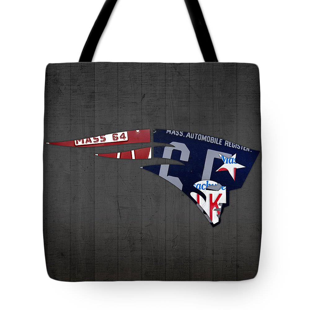 New England Tote Bag featuring the mixed media New England Patriots Football Team Retro Logo Massachusetts License Plate Art by Design Turnpike
