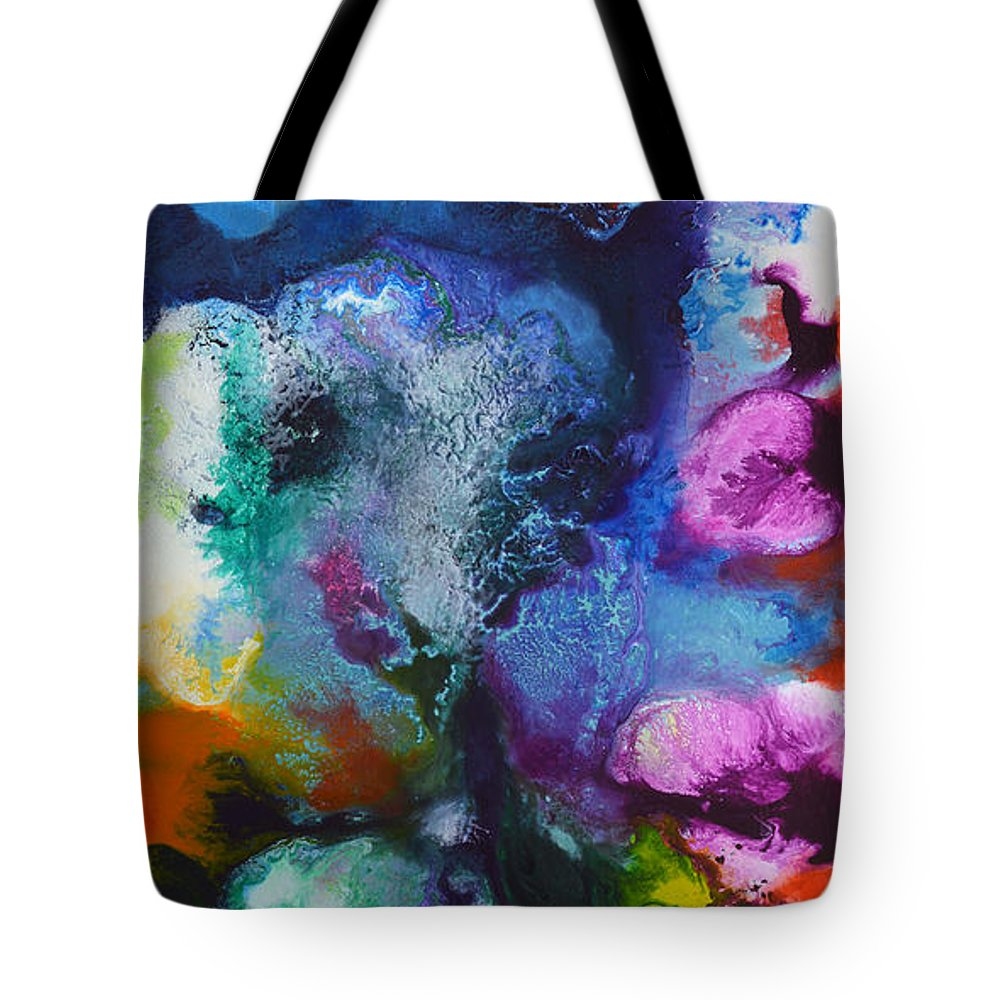 Canvas Three Of My Four Canvas Painting New Freedom. Tote Bag featuring the painting New Freedom Canvas Three by Sally Trace