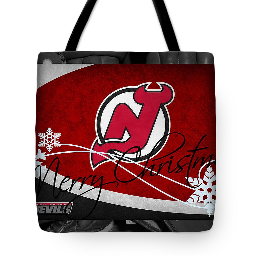 Devils Tote Bag featuring the photograph New Jersey Devils Christmas by Joe Hamilton