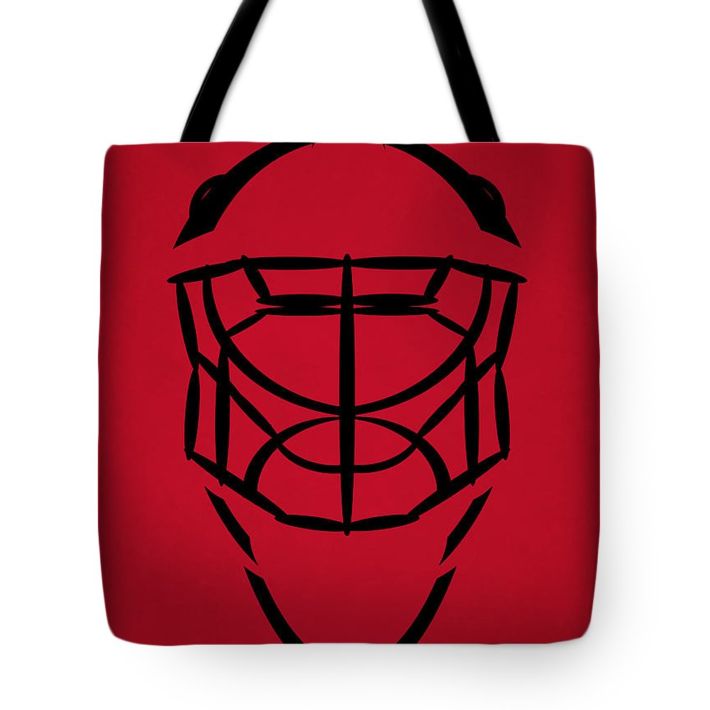 Devils Tote Bag featuring the photograph New Jersey Devils Goalie Mask by Joe Hamilton