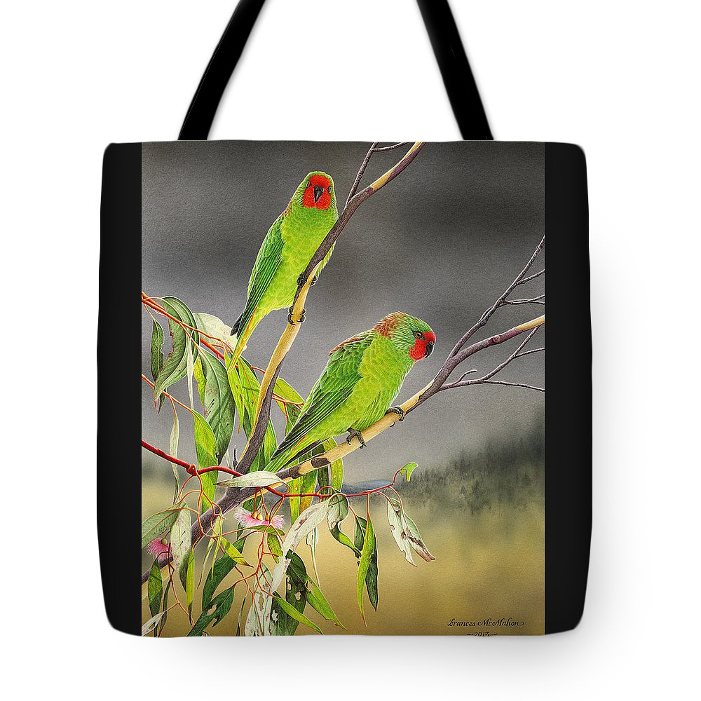Little Lorikeet Tote Bag featuring the painting New Life - Little Lorikeets by Frances McMahon