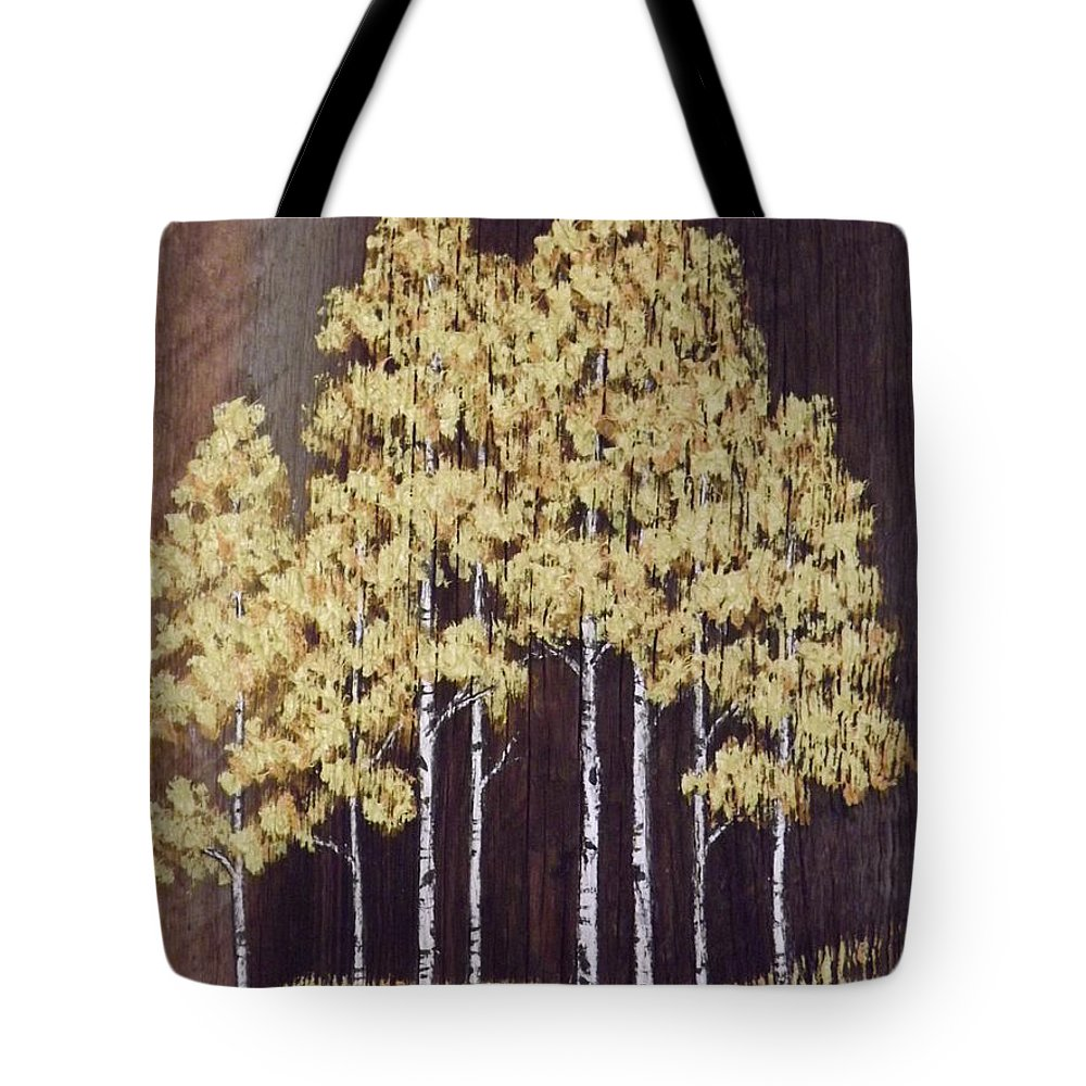 Aspen Trees Tote Bag featuring the mixed media New Mexico Aspens 1 by Lorita Montgomery