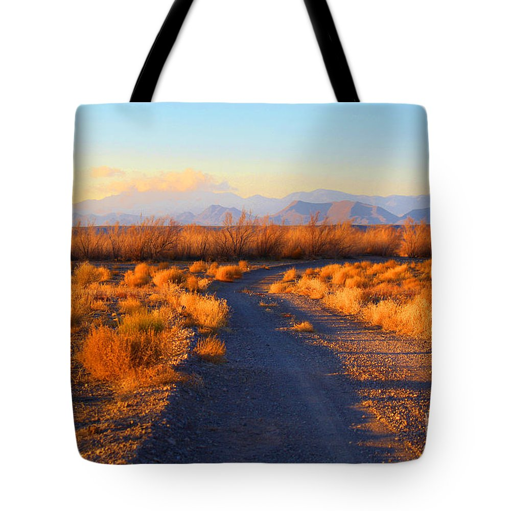 Roena King Tote Bag featuring the photograph New Mexico Back Country Road by Roena King