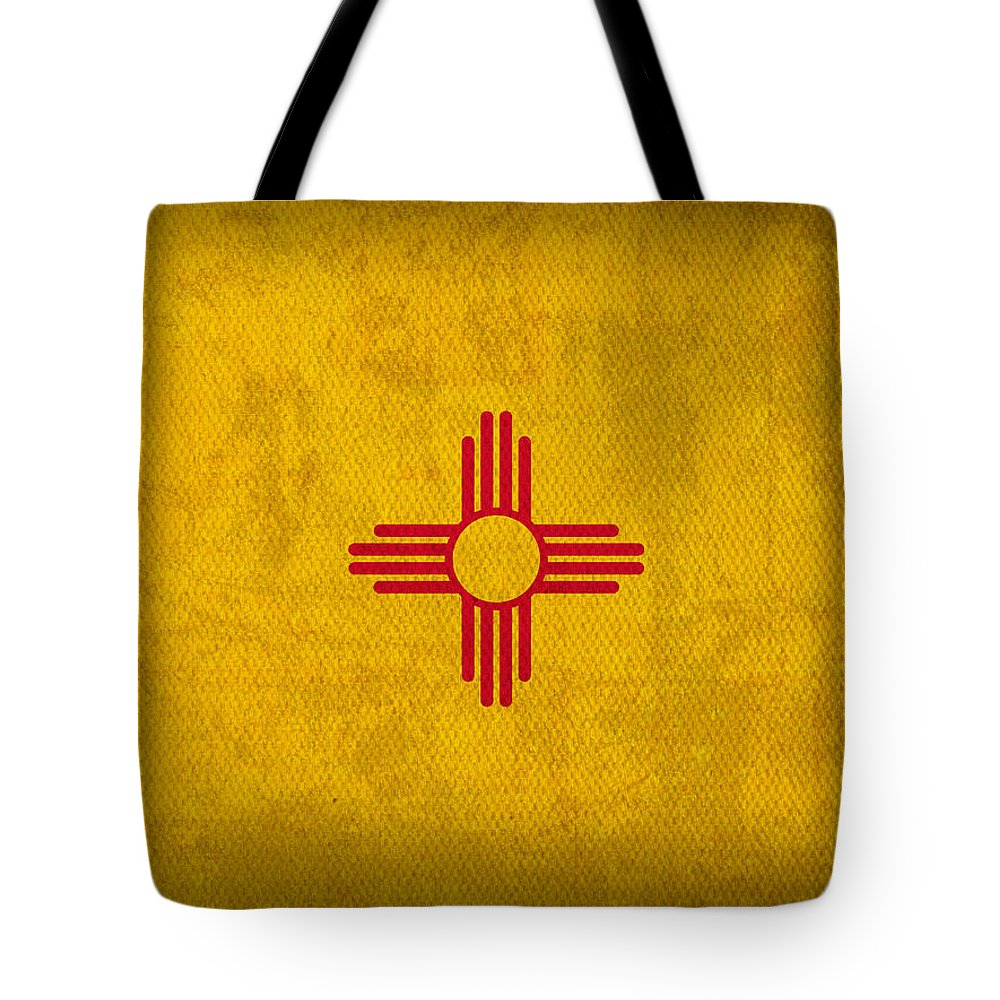 New Mexico State Flag Art On Worn Canvas Tote Bag featuring the mixed media New Mexico State Flag Art On Worn Canvas by Design Turnpike