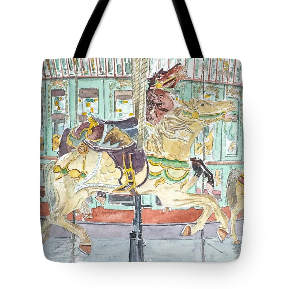 Merry-go-round Tote Bag featuring the painting New Orleans Carousel by Anthony Butera