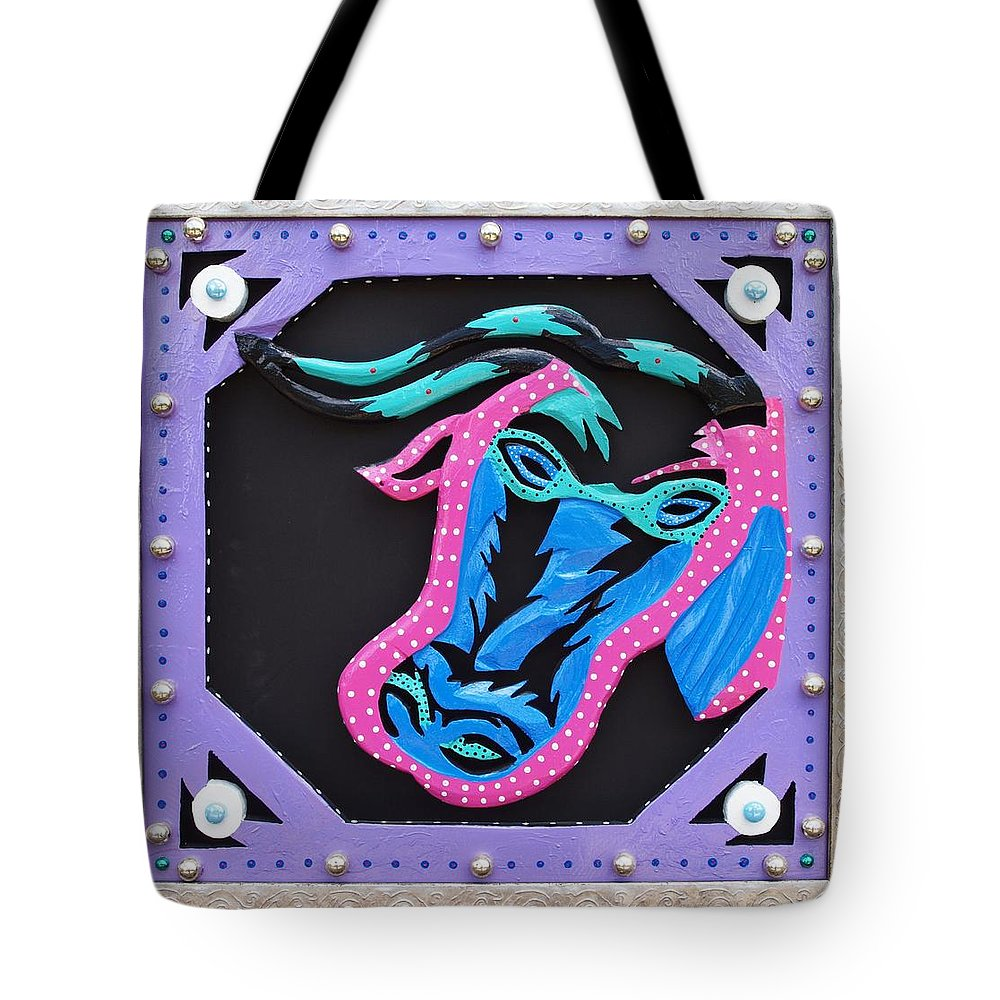 Mardi Gras Tote Bag featuring the sculpture New Orleans Mardi Gras Cow by Robert Margetts