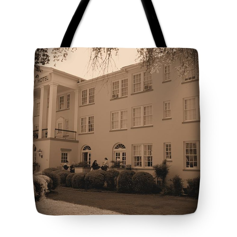 7006 Tote Bag featuring the photograph New Perry Hotel In Sepia by Gordon Elwell