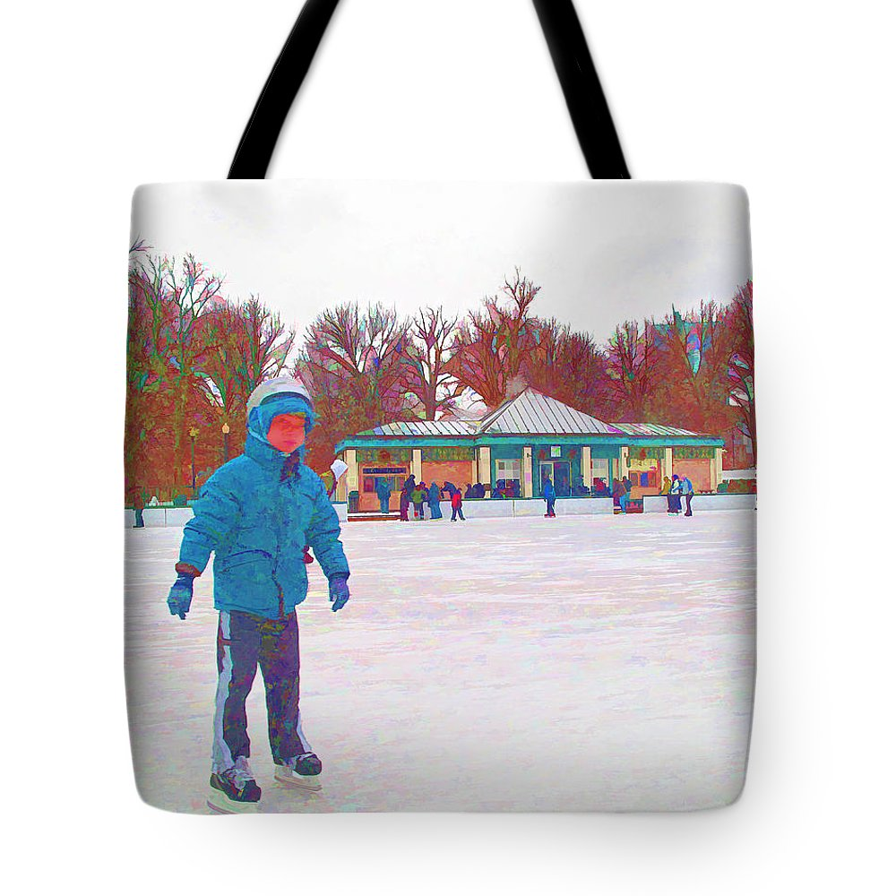Ice Skating Tote Bag featuring the photograph New Skates by Barbara McDevitt