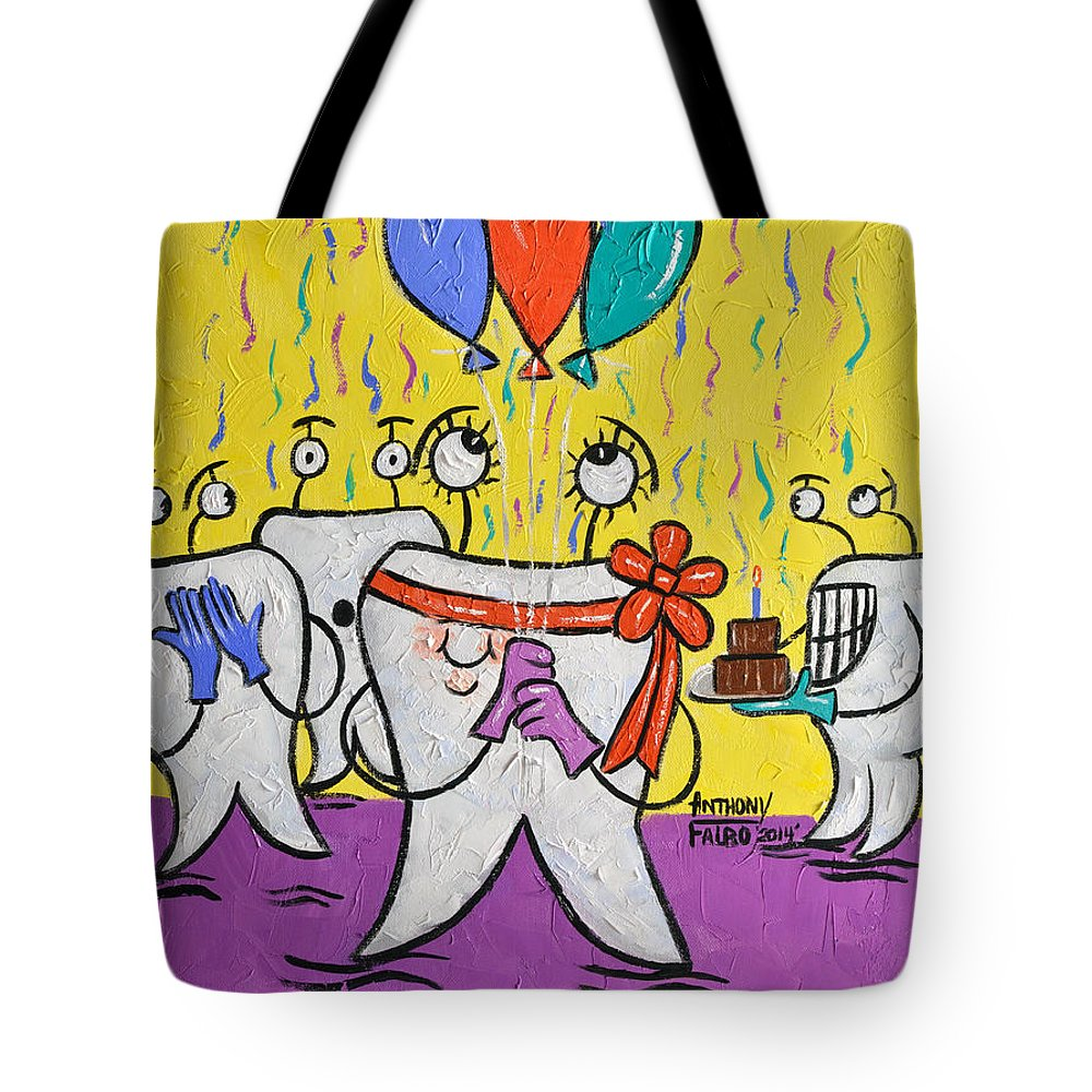 New Tooth Tote Bag featuring the painting New Tooth by Anthony Falbo