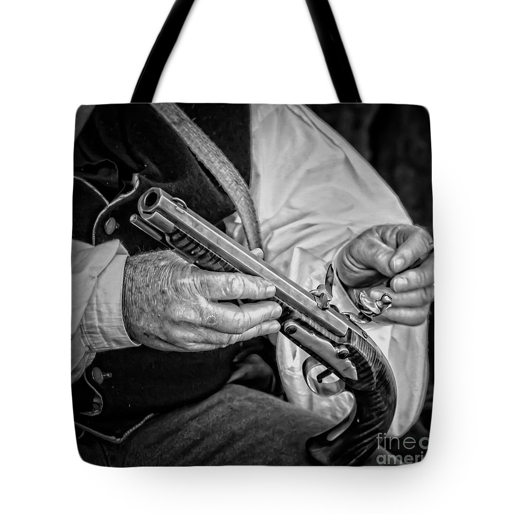 Pistol Tote Bag featuring the photograph New Toy by Kim Henderson