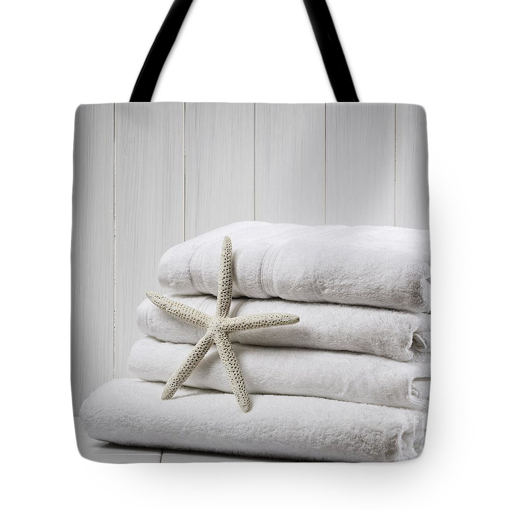 White Tote Bag featuring the photograph New White Towels by Amanda Elwell