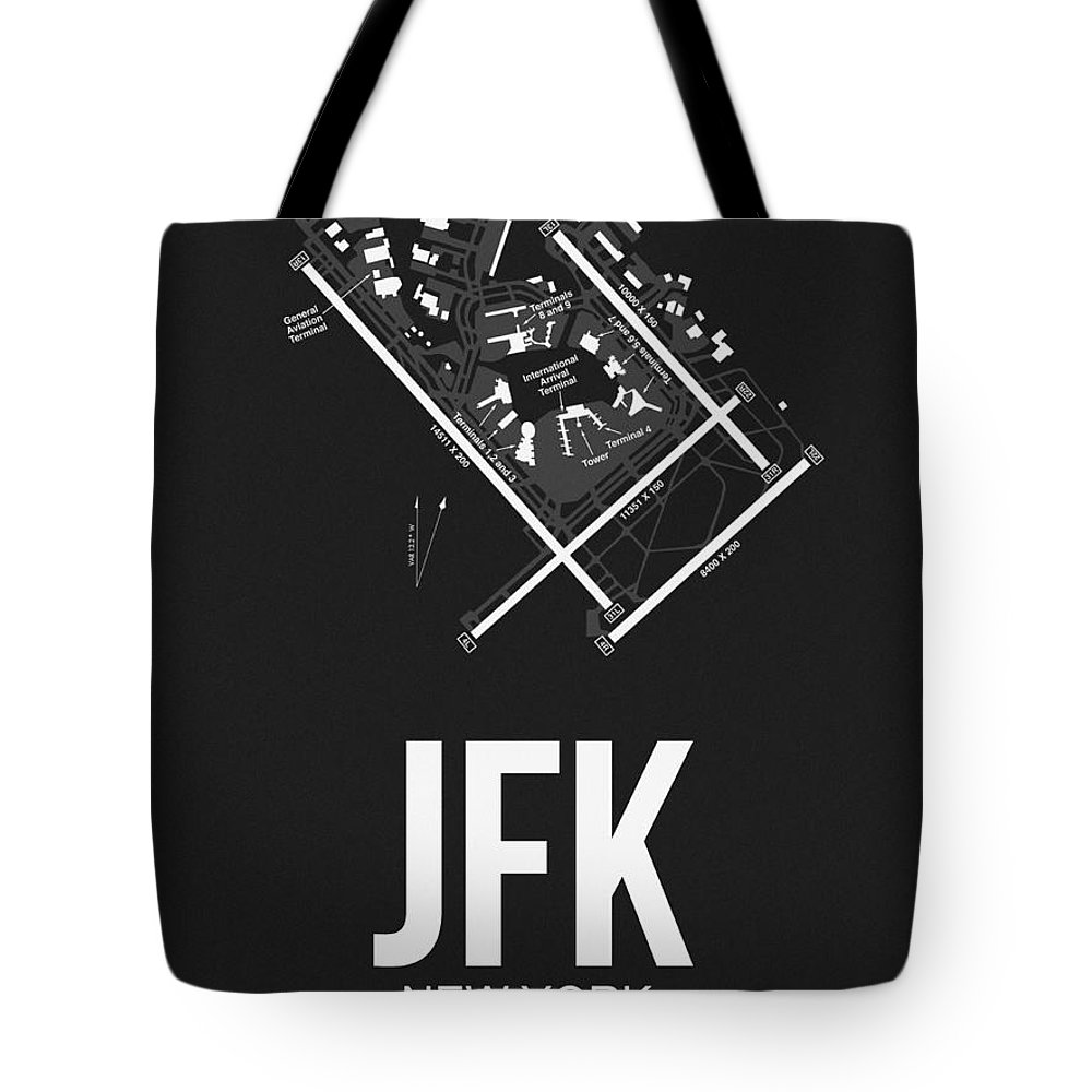 New York Tote Bag featuring the digital art New York Airport Poster 1 by Naxart Studio